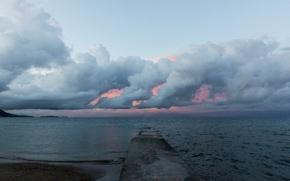 Картинка море, облака, закат, шторм
