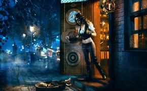 Картинка девушка, находка, steampunk, подкидыш