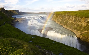 Картинка река, обрыв, водопад, радуга, поток, Исландия, Seljalandsfoss