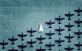 Картинка карта, самолеты, фигурки, бумажный