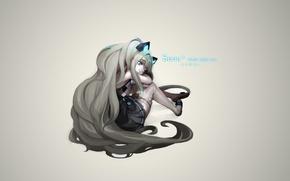 Картинка девушка, фон, чулки, голубые глаза, вокалоид, SeeU
