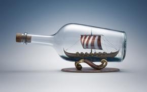 Картинка стекло, корабль, бутылка, парусник, пробка, подставка, викингов