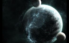Картинка звезды, планета, спутники, planet, satellites