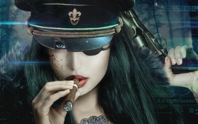 Картинка взгляд, девушка, пистолет, оружие, сигара, фуражка, Vincent Tanguay, LaserFaust - Vladrina
