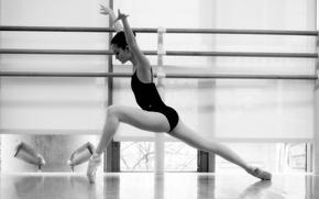 Обои балерина, черно-белое, девушка, ч/б, танец, балет