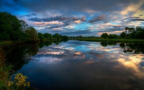 Картинка облака, закат, река, вечер, Ирландия