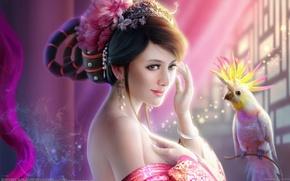 Обои bin wee, цветы, арт, украшения, попугай, прическа, девушка, птица