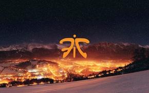 Картинка зима, свет, снег, ночь, город, огни, гора, logo, hots, csgo, dota 2, fnatic, cs go, …