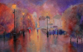 Обои картина, рисунок, город, пейзаж, улица