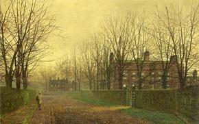 Картинка осень, листья, девушка, деревья, ветки, улица, забор, дома, картина, аллея, калитка, Джон Эткинсон Гримшоу
