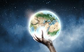 Картинка креатив, земля, планета, рука, звёзды