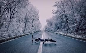 Картинка зима, лес, снег, деревья, велосипед, туман, шоссе, лежит, на дороге