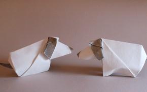 Обои собаки, оригами, бумага