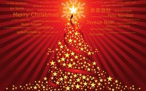 Картинка звезды, праздник, елка, новый год, new year, слова, красный фон, поздравления, merry christmas, holiday, с …