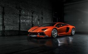 Картинка Lamborghini, ламборджини, Vorsteiner, front, orange, LP700-4, Aventador, left, авентадор