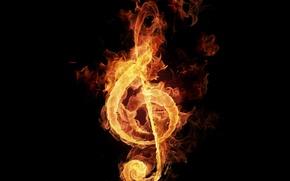 Обои пламя, огонь, нота