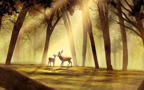 Картинка Рисунок, Деревья, Животные, Олени