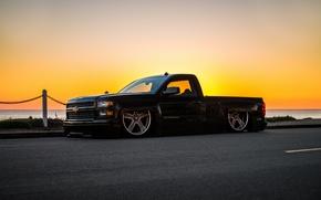 Картинка car, Chevrolet, пикап, tuning, Chevy, stance, Silverado