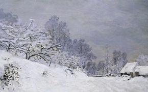 Картинка снег, пейзаж, картина, Клод Моне, Дорога на Ферму Сен-Симеон Зимой