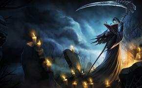 Картинка смерть, тьма, могилы, свечи, коса, заклинание, League of Legends, LoL, Karthus