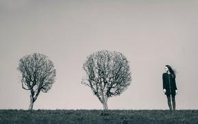 Картинка девушка, деревья, ветер, Maxim Guselnikov, Екатерина Можина