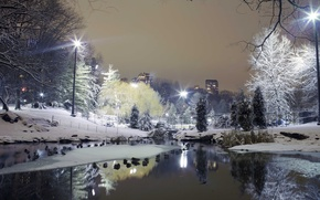 Картинка зима, снег, деревья, город, парк, фонари, ставок