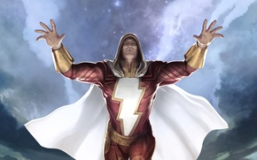 Картинка фантастика, арт, плащ, супергерой, dc comics, Shazam, Captain Marvel, Billy Batson