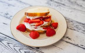 Картинка еда, клубника, бутерброд, крем, сладкое