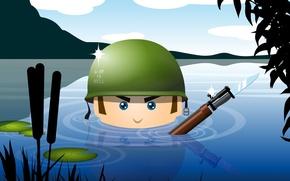 Обои оружие, армия, вода, солдат