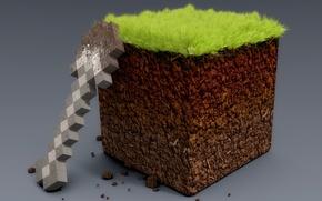 Картинка лопата, minecraft, блок земли