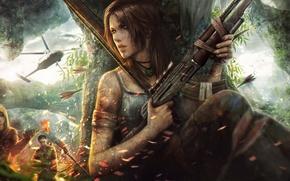 Картинка Tomb Raider, арт, остров, схватка, стрелы, вертолет, погоня, ценой, любой, tincek-marincek., выжить, бандиты, фэнтези, снаряжение, ...