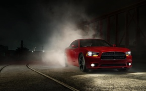Картинка Muscle, Dodge, Red, Car, Front, Charger, Smoke, Adrenaline