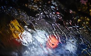 Картинка вода, капли, макро, ночь, огни, дождь, Стекло, боке