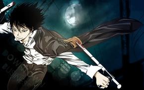 Картинка ночь, кровь, палки, полнолуние, ухмылка, одержимый, Реборн, Katekyou hitman Reborn, Hibari Kyoya