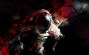 Картинка стекло, космонавт, пятна