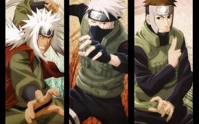 Картинка взгляд, рука, Naruto, жест, ухмылка, жилет, ниндзи, sharingan, ninja, ниндзюцу, Jiraiya, Hatake Kakashi, Коноха, captain ...