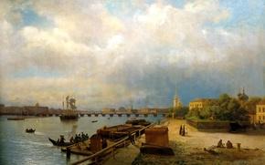 Картинка небо, вода, облака, мост, люди, корабли, лодки, Санкт-Петербург, живопись, Лагорио Лев, Вид на Неву и …