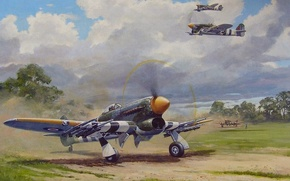 Картинка aircraft, war, airplane, aviation, dogfight, hawker typhoon