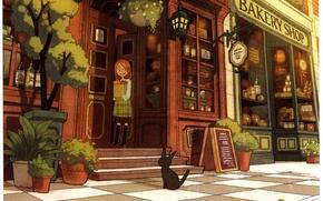 Картинка кот, улица, девочка, горшки, магазин, витрина, Bakeri shop