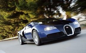 Картинка скорость, шоссе, veyron, суперкар, bugatti, черно-синяя