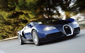 Обои bugatti, veyron, суперкар, скорость, шоссе