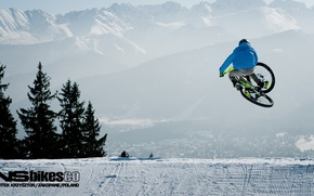 Картинка Mtb, велосипед, freeride, downhill, bike, зима, снег, winter.snow