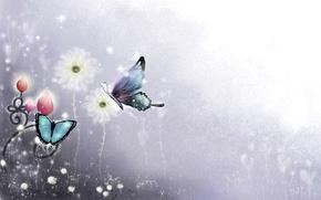 Обои цветы, рисунок, линии, бабочки, искры, завитки