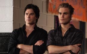 Картинка The Vampire Diaries, братья, мужчины, Дневники вампира, Ian Somerhalder, Иен Сомерхолдер, Пол Уэсли, Paul Wesley, …