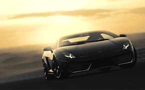 Картинка Lamborghini, чёрная, Gallardo, black, ламборджини, галлардо, гран туризмо, GT5, Gran Turismo, LP560-4, PlayStation, Desert Sunset