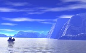 Картинка море, небо, пейзаж, скалы, ледник, катер