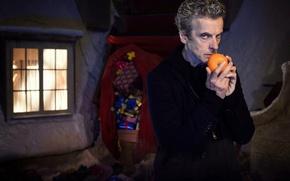 Картинка зима, взгляд, снег, дом, улица, рождество, окно, подарки, актер, мужчина, christmas, сани, мешок, Doctor Who, …