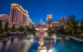 Картинка небо, Лас-Вегас, фонтан, США, казино, las vegas, caesars palace