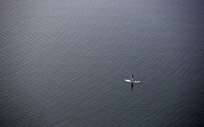 Картинка море, человек, минимализм