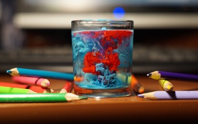 Картинка вода, стакан, цвет, Карандаши, арт, художник, искусство